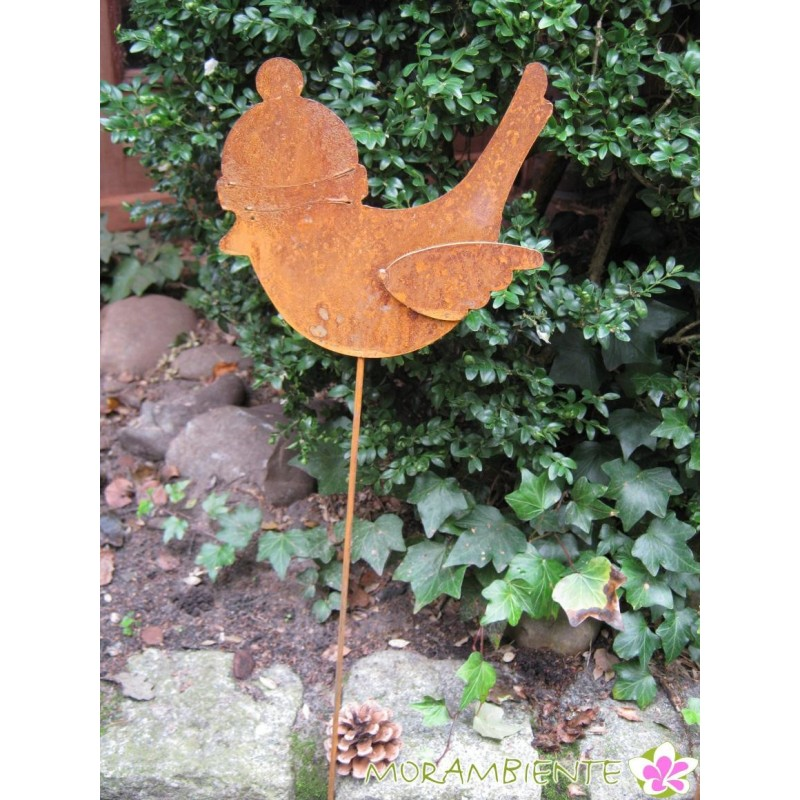 Vogel mit Mütze als Pflanzenstecker