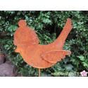 Vogel mit Mütze als Pflanzenstecker aus Metall