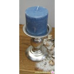 Stumpenkerze rustikal, blau