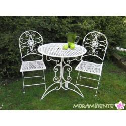 """Bistroset, Tisch und Stühle """"Blume"""", weiß-shabby"""