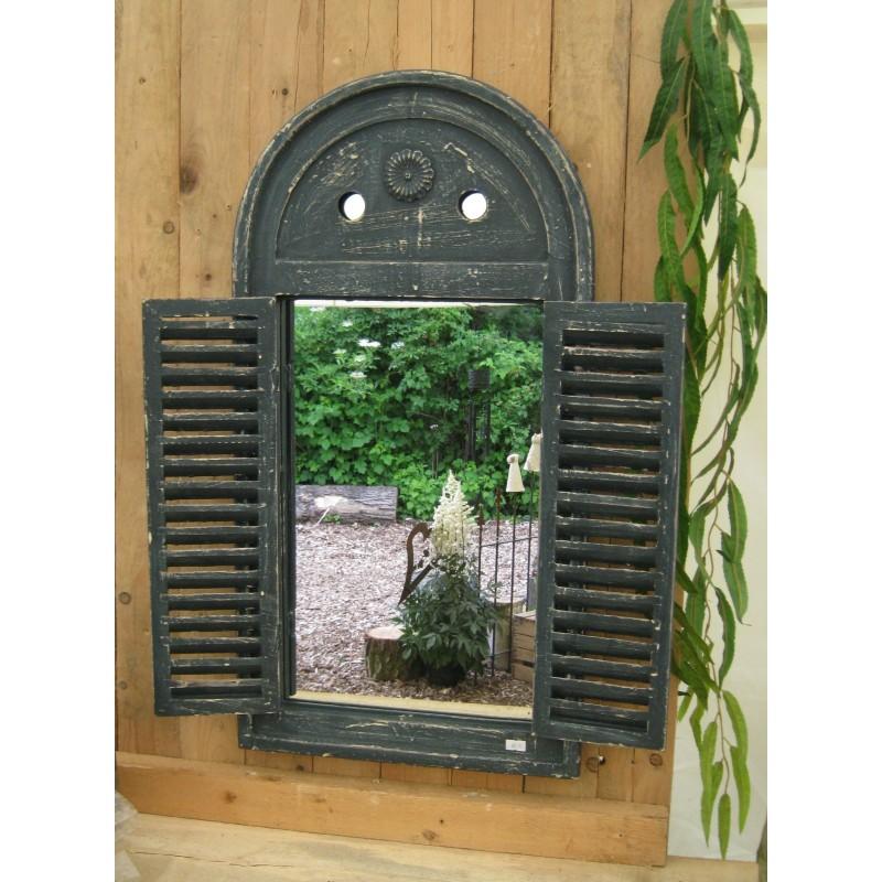 """Blauer Spiegel """"Venezia"""" mit Fensterläden im Antik-Look"""