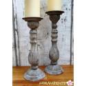 Kerzen-Leuchter in zwei Größen aus Metall im Antik-Stil