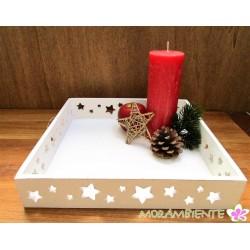Weißes Stern-Tablett aus Holz im Shabby-Stil