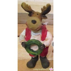 Keramik-Weihnachtselch in Holzoptik