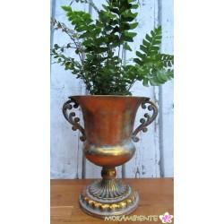 Metall-Pokal, Pflanzbehälter in goldener Antik- Optik