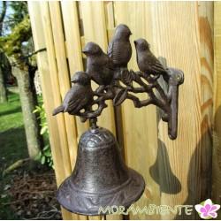 Glocke mit Vögeln aus Gusseisen
