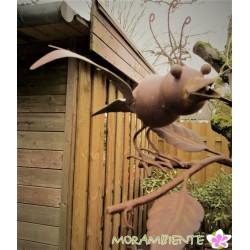 "Blumenhänger ""Vogelpaar"" in Rostoptik lackiert"
