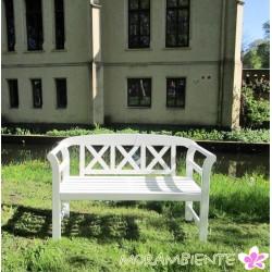 """Weiße Gartenbank """"Windsor"""" aus Eukalyptusholz"""