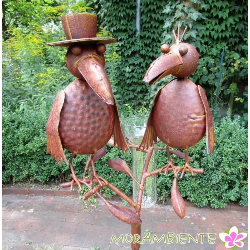 """Gartenstecker """"Raben"""" mit Regenmesser"""