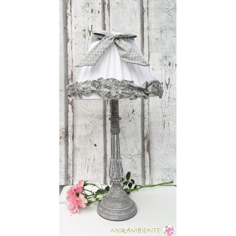 grau-weißeTischlampe aus Holz mit Stoffschirm