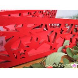 Rotes Stern-Tablett aus Holz