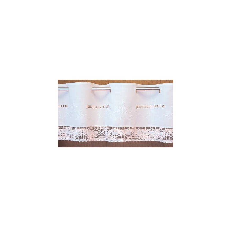 Bistrogardine in Leinenoptik mit  Stickerei und Häkelspitze