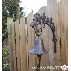 Glocke  mit Vogelgruppe aus Gusseisen