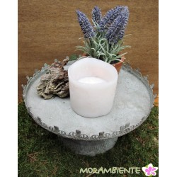 Blumen- Kerzenständer mit Krone im Antik-finish