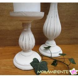 Kerzenleuchter aus Holz in shabby