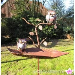 """Gartenstecker Vogeltränke """" Blatt mit Zweig"""" in Rostoptik"""