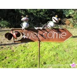 """Gartenstecker """"Willkommen"""" mit bunten Tieren"""