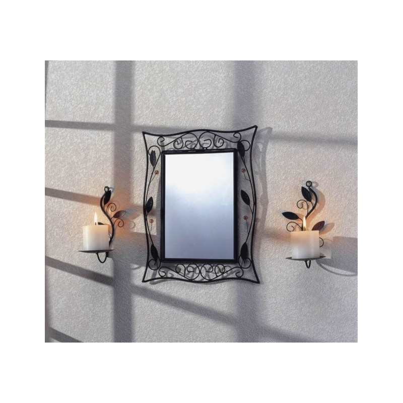 Spiegelset aus Metall mit zwei Wandkerzenhaltern