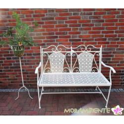 """Gartenbank """"Riviera"""" aus Metall, creme-weiß lackiert"""