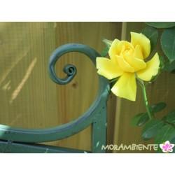 """Gartenbank """"Blume"""" aus Metall in Grün-Antik"""
