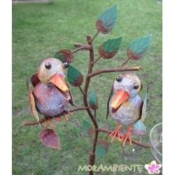 """Gartenstecker  """"Vögel mit Zweig"""" mit Regenmesser"""