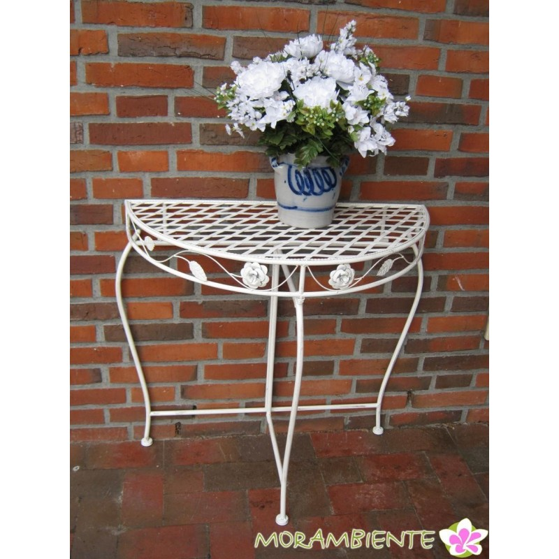 wei er halbrunder deko tisch im antik look morambiente. Black Bedroom Furniture Sets. Home Design Ideas
