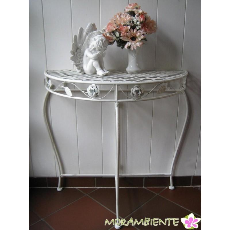 Weißer, halbrunder Deko-Tisch im Antik-Look
