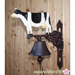 Schwere Glocke mit Kuhmotiv aus Gusseisen