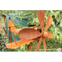 """Gartenstecker """"Doppeldecker Flugzeug"""" Echtrost-Oberfläche"""