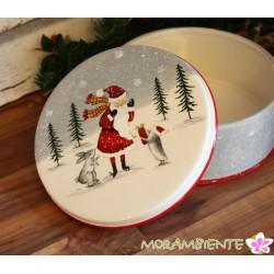 """Gebäckdose """"Weihnachten mit Tieren"""" aus Keramik"""