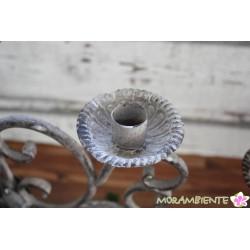 5-armiger Tischleuchter aus Antik-grauem Metall
