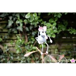 """Gartenstecker """"Katze und Maus"""" mit Regenmesser"""