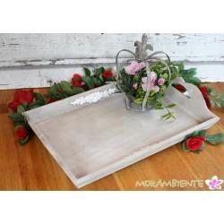 "Tablett ""Rose"" aus Holz in Antik-Art"
