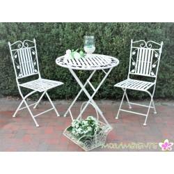 """Bistrogarnitur, Tisch und Stühle """"Blätter"""", weiß-shabby"""