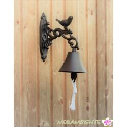 Glocke mit Vogel aus Gusseisen