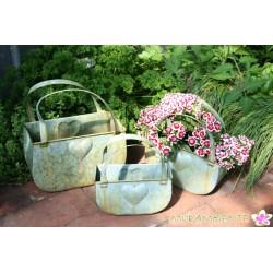 Pflanz-Taschen-Set aus Metall in grüner Alt-Zinkoptik