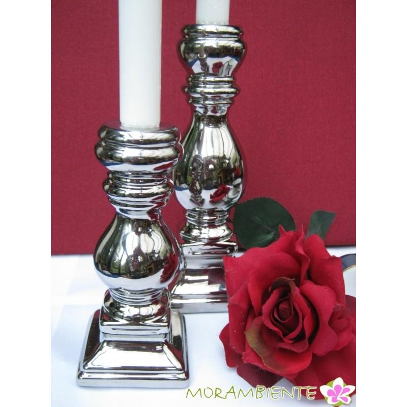 2er Set silberfarbige Kerzenleuchter aus Keramik