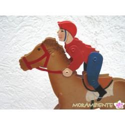 "Pendelfigur aus Metall ""Jockey auf Pferd"""